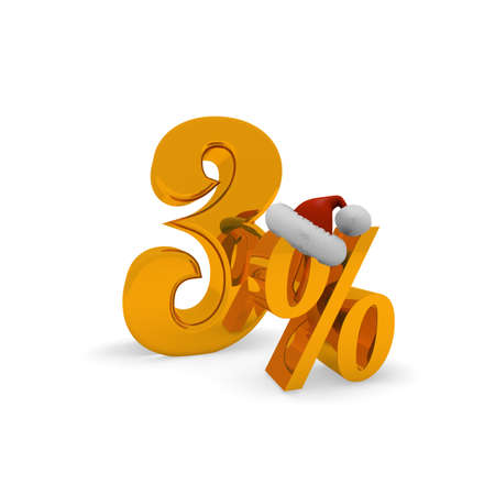 Three percent discount concept with hat of Santa, 3d rendering Stock Photo