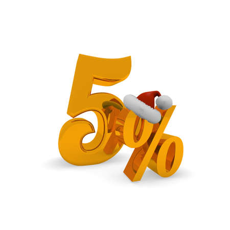 Five percent discount concept with hat of Santa, 3d rendering