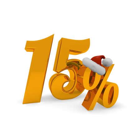fifteen: Fifteen percent discount concept with hat of Santa, 3d rendering