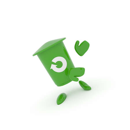 Green garbage bin with a recovery icon on a white background, 3d recycling image