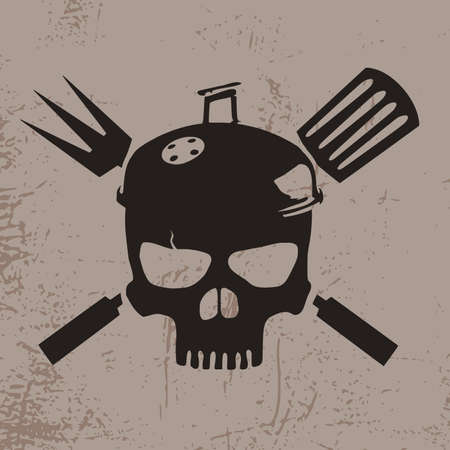 Illustration of a skull with a hat of a BBQ grill
