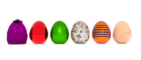 golden egg: Assortment of Easter eggs on a white background, 3d rendering