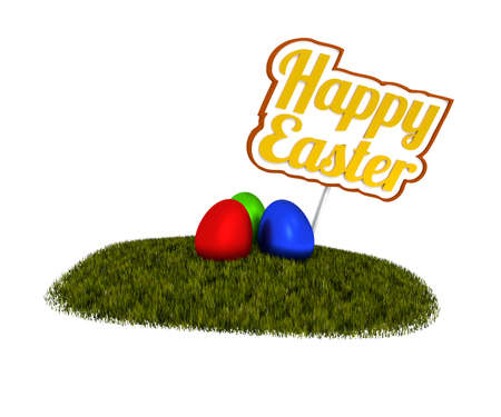 easter sign: Happy Easter sign with colored eggs on green grass, 3d rendering