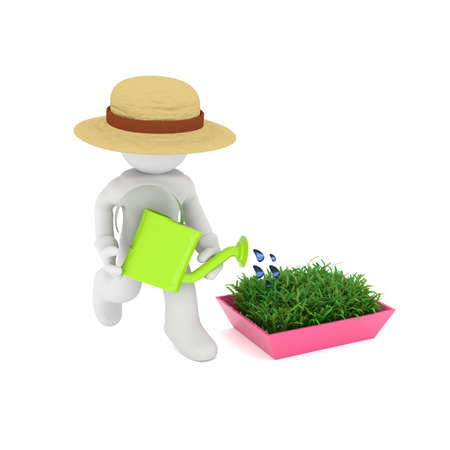 Gardener with a watering can and growing plants, 3d rendering
