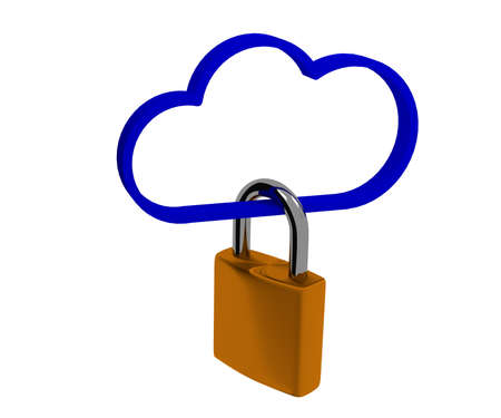 Safety concept with a cloud shape and a padlock, 3d rendering