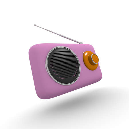 receiver: Pink radio vintage style 3d rendering on white background Stock Photo