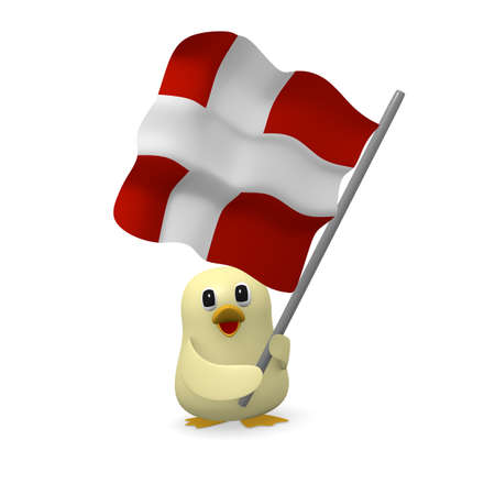 Funny bird with the flag of Denmark, 3d rendering