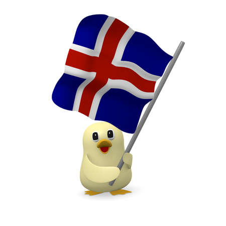Funny bird with the flag of Iceland, 3d rendering