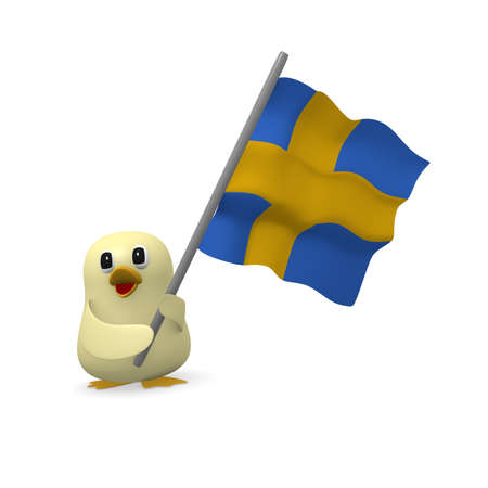 Funny bird with the flag of Sweden, 3d rendering Stock Photo