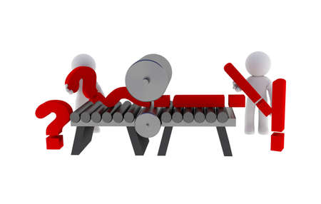 Small character with question marks and exclamation mark, 3d rendering