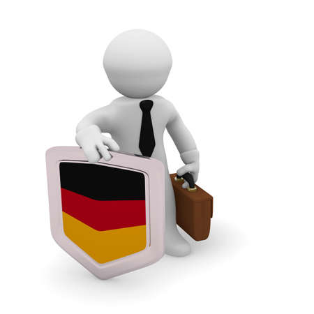 man made: 3d character holding a German badge, manufacturing 3d concept rendering