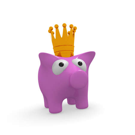 Cute pink piggy bank with a golden crown on a white background, 3d rendering Stock Photo