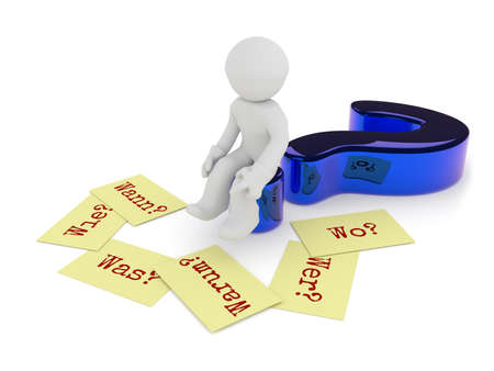 Small character sitting on a glossy blue question mark, six sticky notes on the ground with the German words Why, When, How, Where, What and Who on a white background, 3d rendering