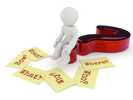 Small character sitting on a glossy red question mark, six sticky notes on the ground with the words Why, When, How, Where, What and Who on a white background, 3d rendering Stock Photo
