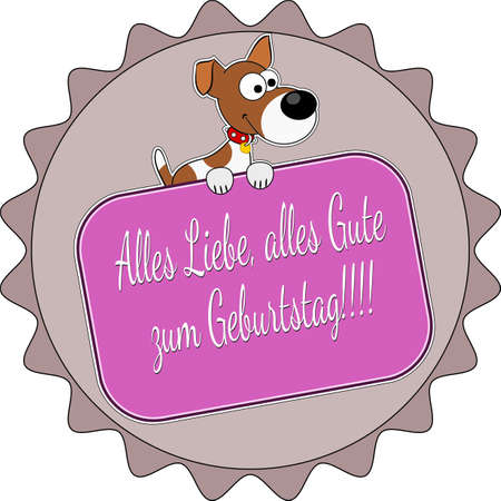 Badge with a terrier and the German words Happy Birthday !