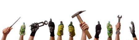 Female hands with tools and working gloves on a white background, women power concept Stock Photo