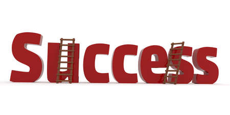 The word success with two ladders on a white background, business concept image, 3d rendering