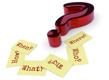 Glossy red question mark, six sticky notes on the ground with the words Why, When, How, Where, What and Who on a white background, 3d rendering
