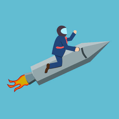 Businessman on a rocket, aim high or success concept, flat style