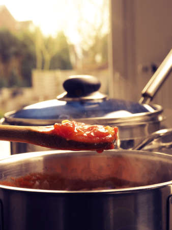 Cooking tasty tomato sauce with garlic onions and spicy herbs,