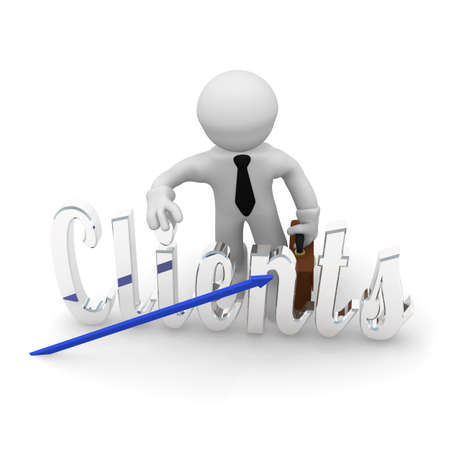 Character with the word clients in silver and upswing arrow, 3d rendering Stock Photo