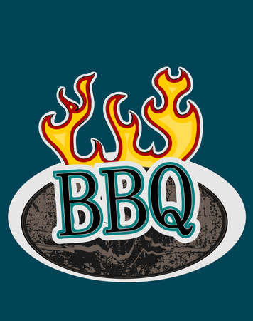 BBQ on a wooden sign with flames, vector illustration