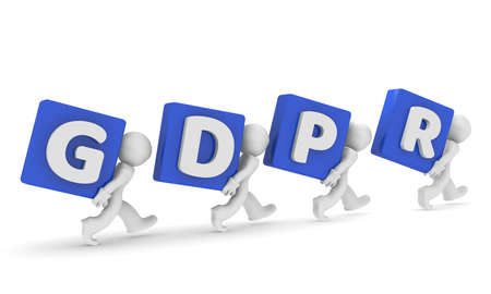 Small business character with the letters GDPR, General Data Protection Regulation, 3d concept rendering Stok Fotoğraf