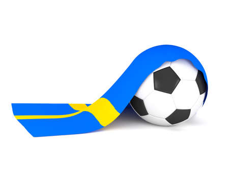 Soccer ball with the Swedish flag, soccer championship concept 3d rendering