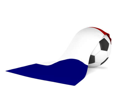 Soccer ball with the French flag, soccer championship concept 3d rendering Stok Fotoğraf
