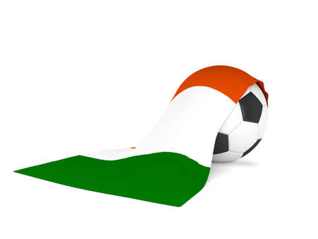 Soccer ball with the flag of Ireland, soccer championship concept 3d rendering