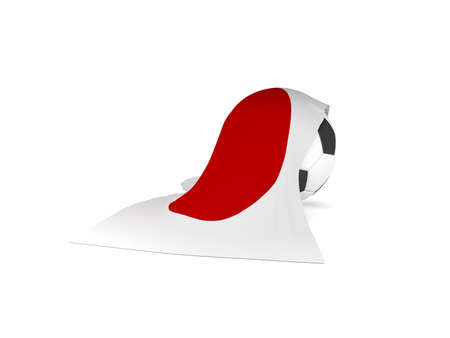 Soccer ball with the flag of Japan, soccer championship concept 3d rendering