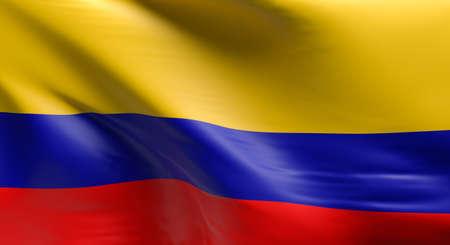 Flagge von Kolumbien unter Verwendung als Hintergrund, 3D-Darstellung