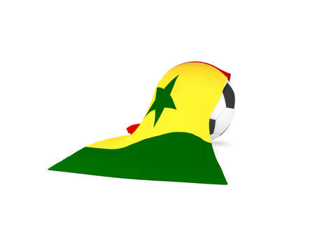 Soccer ball with the flag of Senegal, soccer championship concept 3d rendering
