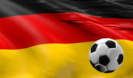 Soccer ball with the German flag, soccer championship concept 3d rendering Stok Fotoğraf