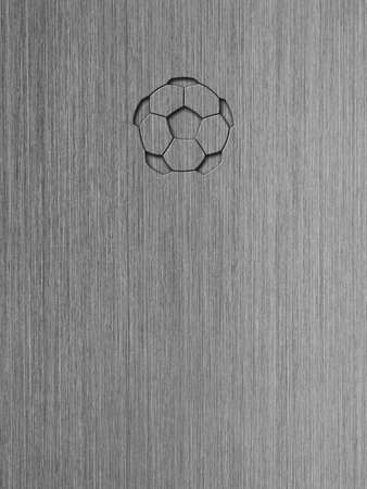 Macro shot of brushed aluminum, metal texture background with embossed soccer ball icon  Stock Photo