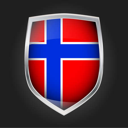 Shield with flag of Norway, vector illustration Stock Illustratie