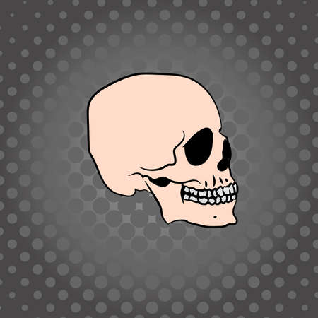 Hand drawn skull on a dark background with dots, vector illustration