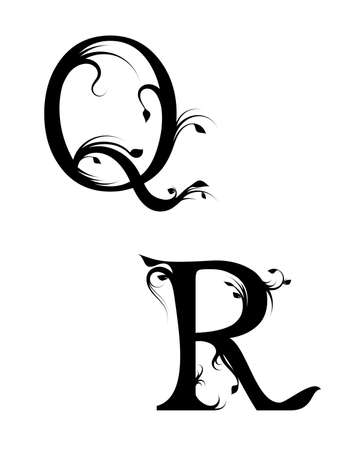 Floral letters Q and R on a white background, vector illustration