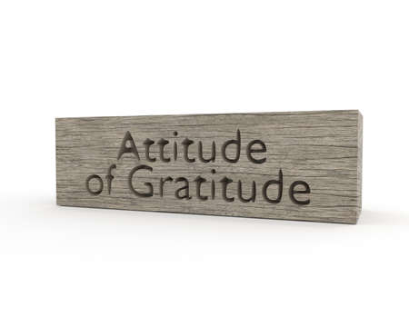 Conepetual 3d rendering with a wooden block and the words Attitude of Gratitude