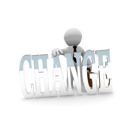 Pequeño empresario con la palabra cambio en plata, render 3d