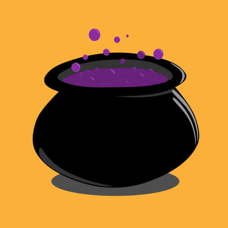 Bubbling cauldron of a witch on an orange background, halloween vector illustration