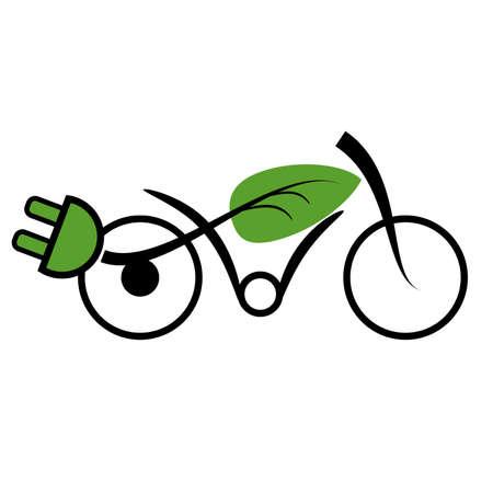 Icono de ecología con una bicicleta eléctrica, movilidad eléctrica, ilustración vectorial