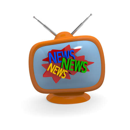 News, News, News on an orange retro television, conceptual 3d rendering