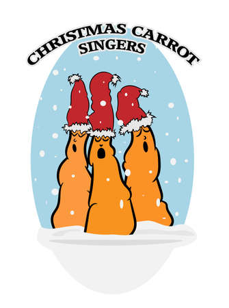 Cartoon drawing of cute Christmas Carrot Singers in a snow landscape, vector illustration