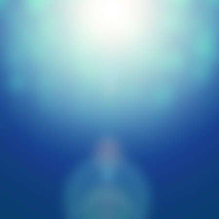 Magical blurred background in blue with sun rays, decorative illustration