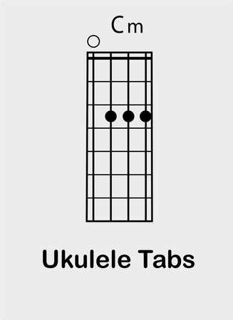 Ukulele tabulator with C minor chord, vector illustration