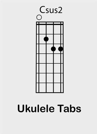 Ukulele tabulator with C sus2 chord, vector illustration