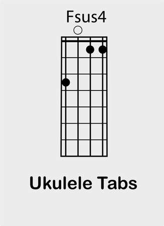 Ukulele tabulator with F sus4 chord, vector illustration