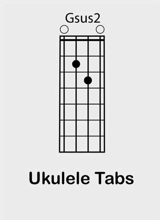 Ukulele tabulator with G sus2 chord, vector illustration