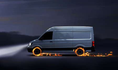 Fast delivery van with flames, concept for a fast delivery Imagens